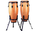 Congas 11in/10in Set-Wood w/Stand Red