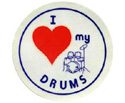 Stickers (Pack of 10)  I Love My Drums