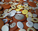 Sax Pad: Tan Leather. Plastic Disc 18mm
