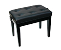 Piano Bench-Adjustable. Buttoned Seat. Black