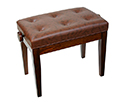 Piano Bench-Adjustable. Buttoned Seat. Gloss Walnut