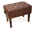 Piano Bench-Adjustable. Deluxe w/Compartment Walnut