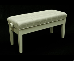 Piano Bench-Duet. Mono Adjustable. Buttoned. White