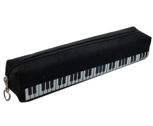 Pencil Case-Black With Piano Keys